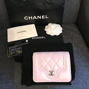 New Chanel Pastel Pink Lambskin Cardholder Wallet